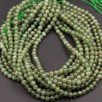 "Natural Green Garnet Round Beads 4mm Round 6mm Round 7mm Round Beads Full 16"" Strand"