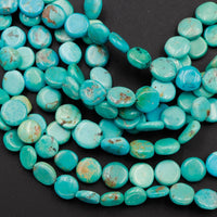"Natural American Turquoise Beads Thin Flat Coin 9mm 10mm Real Genuine Stunning Soft Blue Green Gemstone 16"" Strand"