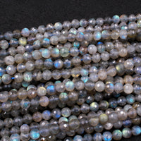 "Faceted Labradorite 4mm 6mm Round Beads AA Quality Tons of Flashes Micro Faceted Natural Blue Labradorite Round Beads 16"" Strand"