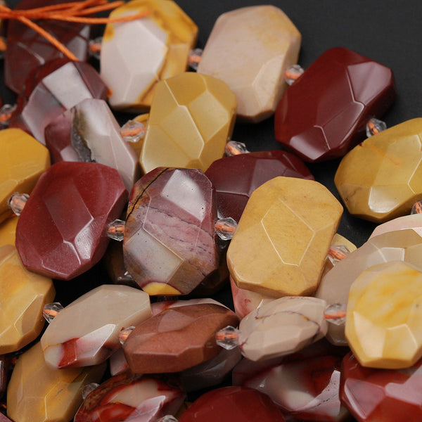 "Natural Australian Mookaite Beads Faceted Rectangle Cushion Octagon Natural Sunset Color Red Yellow Maroon Red Creamy Beige 16"" Strand"
