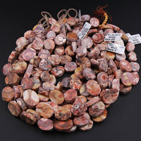 "Natural Bird's Eye Rhyolite Beads Half Rough Half Polished Raw Druzy Drusy  15mm x 20mm Oval Beads 16"" Strand"