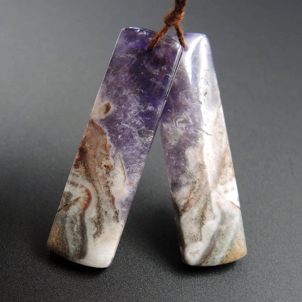 Natural Chevron Amethyst Earring Pair Rectangle Cabochon Cab Pair Drilled Matched Earrings Bead Pair Stone E1232