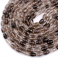"Faceted Natural Smoky Quartz 14mm Drum Barrel Tube Cyclinder Beads Sparkling Gemstone High Quality 16"" Strand"