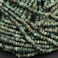 "African Turquoise 6mm Faceted Rondelle Beads High Quality Natural Earthy Blue Green Turquoise 6x4mm Rondelle Sharp Facet Gemstone 16"" Strand"