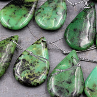 Natural African Green Chrysoprase Pendant Teardrop Shape Drilled Bead Pendant Sale