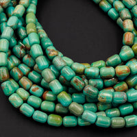"Genuine 100% Natural Turquoise Beads 9x7mm Cylinder Rounded Tube Drum Barrel Real Natural Blue Green Turquoise Beads 16"" Strand"
