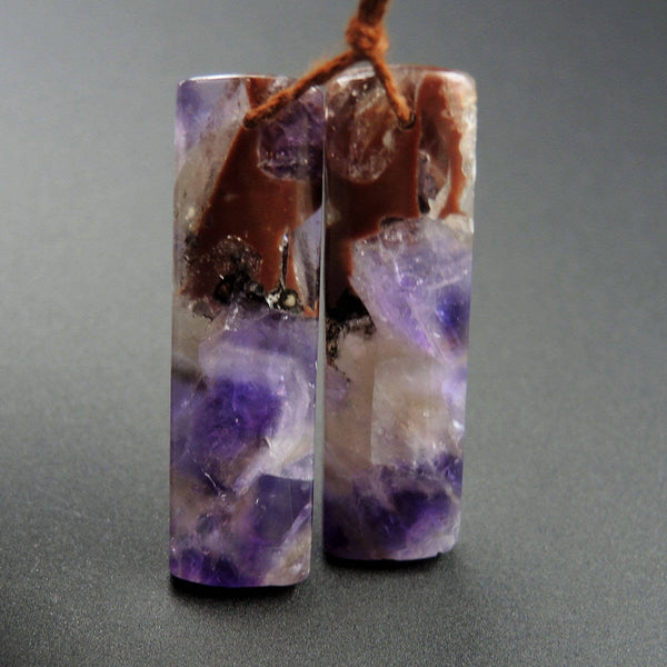 Natural Chevron Amethyst Earring Pair Rectangle Cabochon Cab Pair Drilled Matched Earrings Bead Pair Stone E1221