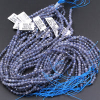 "Gorgeous Natural Blue Iolite 5mm Round Beads Micro Faceted Gemstone High Quality Genuine Real Iolite Faceted Round Gemstone Beads 16"" Strand"