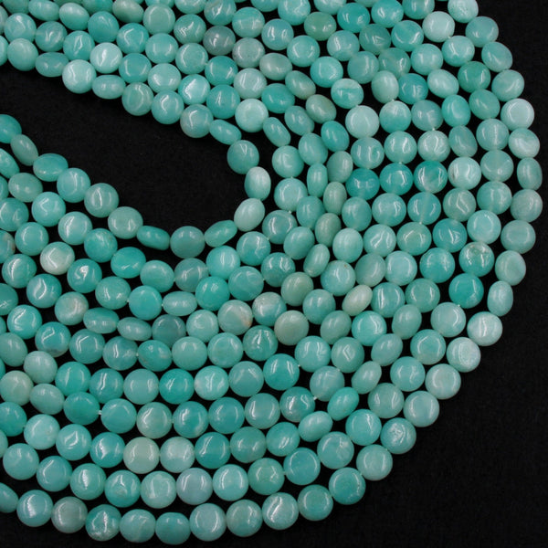 "Natural Blue Amazonite Coin Beads Stunning Sea Blue Green Gemstone High Quality Good For Earrings 16"" Strand"