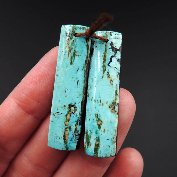 Natural Turquoise Earring Pair From Anhui Mine Cabochon Cab Pair Drilled Matched Earrings Bead Pair E2232