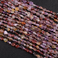 "Rare Natural Auralite Freeform Chip Oval Nugget Beads Powerful Healing Gemstone World's Oldest Crystal 16"" Strand"