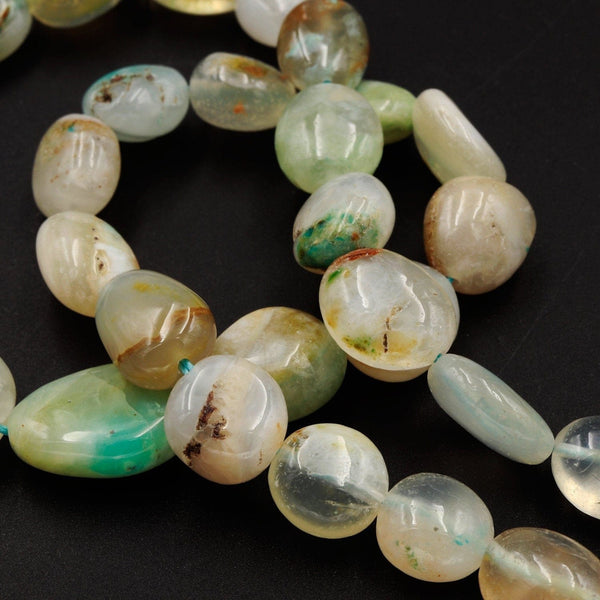 "Rare Genuine Natural Peruvian Blue Opal Beads Pebble Nugget Extra Translucent Gemmy Opal Jelly Blue Opaline Beads 17"" Strand"