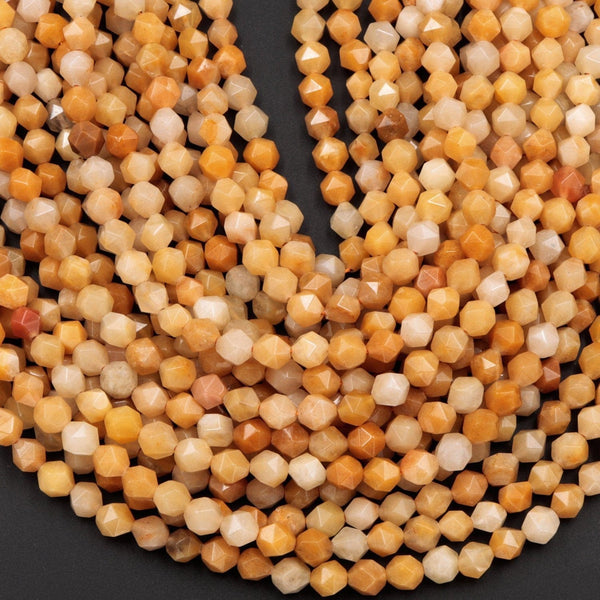 "Star Cut Natural Yellow Jade Beads Faceted 8mm Rounded Nugget Sharp Facets 15"" Strand"