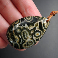 Ocean Jasper Pendant Teardrop Pendant Green Yellow Orange White Cabochon Cab Front Drilled Natural Stone Pendant Bead P1745
