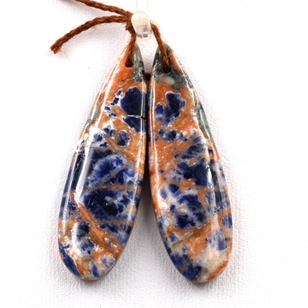 Natural Orange Sodalite Earring Pair Teardrop Cabochon Cab Drilled Matched Earrings Bead Pair Vibrant Orange Blue Stone