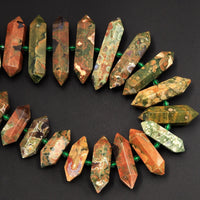 "AAA Natural Rainforest Rhyolite Jasper Faceted Double Terminated Pointed Tips Center Drilled Large Healing Focal Pendant Bead 16"" Strand"