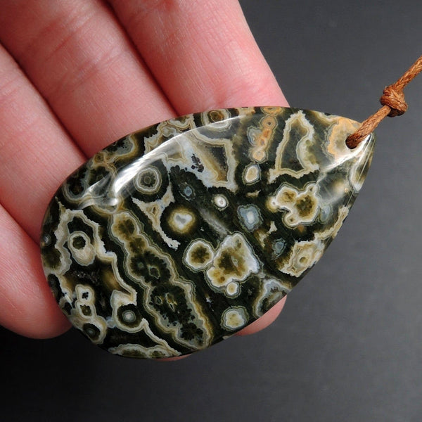 Ocean Jasper Pendant Teardrop Pendant Green Yellow Orange White Cabochon Cab Front Drilled Natural Stone Pendant Bead P1739