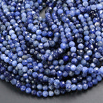 "High Quality Natural Blue Sodalite Round 2mm 3mm 4mm Faceted Round Beads Micro Cut Faceted Tiny Small Genuine Gemstone 16"" Strand"