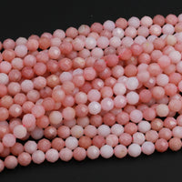 "AAA Quality Micro Faceted Natural Peruvian Pink Opal 4mm 6mm 8mm Round Bead Large Sharp Facet Laser Diamond Cut Pink Gemstone 16"" Strand"