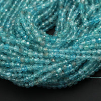 "Micro Faceted AAA Tiny Small Natural Apatite Faceted Round Beads 2mm 3mm 4mm Faceted Round Beads Translucent Aqua Blue Gemstone 16"" Strand"