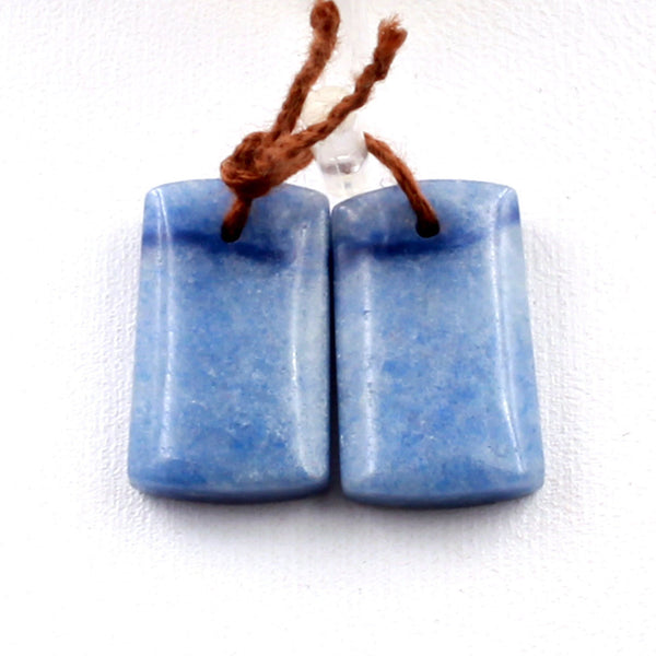 Drilled Natural Blue Aventurine Earring Pair Short Rectangle Cabochon Cab Pair Drilled Matched Earrings Bead Pair