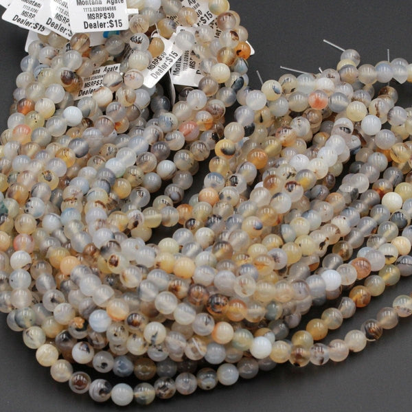 "Natural Montana Agate Round Beads Smooth 8mm 10mm Amazing Dendritic Pattern Unusual Yellow Brown Black White Beads 16"" Strand"