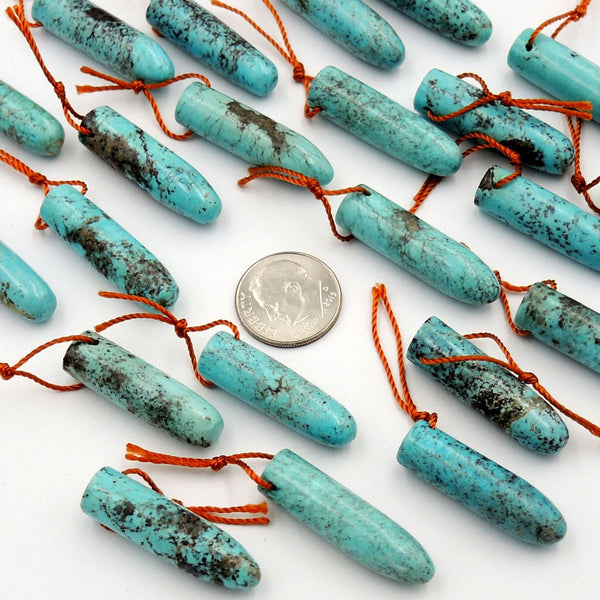 Genuine 100% Natural Turquoise Bullet Pendant Bead High Quality Top Side Drilled Real Blue Turquoise Gemstone