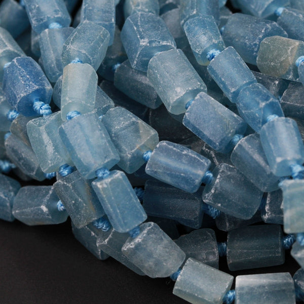 "Blue Calcite Beads Faceted Tube Rectangle Shaped Raw Rough Organic Cut Earthy Natural Blue Semi Precious Gemstone 16"" Strand"