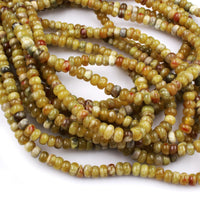"Rare Natural Russian Blood Serpentine Jade 6x4mm Rondelle Beads Red Mustard Green Jade From Russia 16"" Strand"