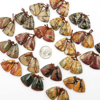 Natural Red Creek Jasper Triangle Earring Pair Cabochon Cab Drilled Matched Gemstone Bead Pair Aka Multicolor Picasso Jasper