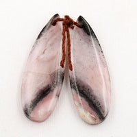 Natural Peruvian Pink Opal Earring Pair Teardrop Gemstone Cabochon Cab Pair Drilled Matched Earrings