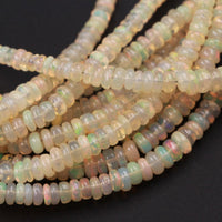 "16 Inches Ethiopian Opal Beads Rondelle Graduating 3mm 4mm AAA Super Flashy Fiery Rainbow Yellow Opal Smooth Rondelle Beads 16"" Strand A2"