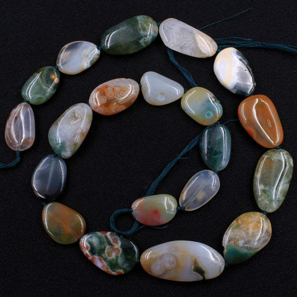"Extra Gemmy! Natural Ocean Jasper Beads Smooth Oval Pebble Freeform Nuggets Vibrant Green Red Orbs Eyes High Quality Gemstone 16"" Strand"