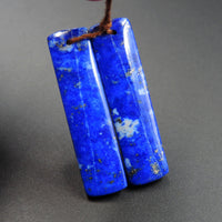 Natural Lapis Earring Pair With Pyrite Rectangle Cabochon Cab Pair Drilled Matched Earrings Bead Pair E2156