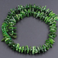 "Raw Rough Large Natural Green Chrome Diopside Chip Nugget Unpolished Chrome Diopside Raw Organic Beads Rough Cut 16"" Strand"