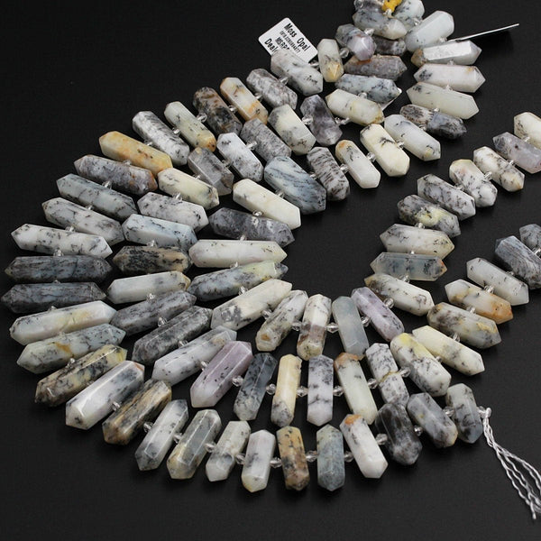 "AAA Natural Moss Opal Beads Faceted Double Terminated Pointed Tips Large Healing Focal Pendant Drilled Dendritic Bead Bullet 16"" Strand"