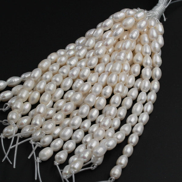 "Large Hole Pearls Beads Genuine Freshwater Pearl 15mm Large Potato Oval Rice Pearl Shimmery Pearly White Big 2.5mm Hole 8"" Strand"