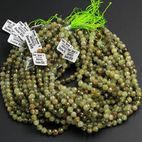 "Micro Faceted Natural Green Garnet Faceted Round Beads 7mm Faceted Round Beads Laser Diamond Cut Gemstone 16"" Strand"