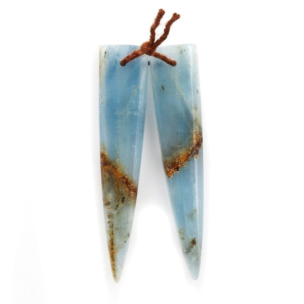 Rare Natural Blue Calcite Earring Pairs Cabochon Cab Creative Dagger Long Triangle Shape Drilled Matched Dagger Earrings Bead Pairs