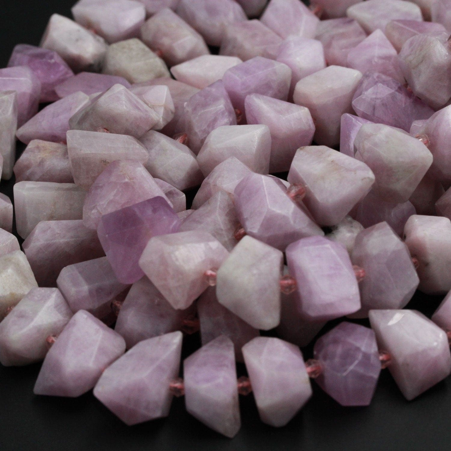 "Natural Kunzite Bead Chunky Large Faceted Rectangle Nugget Pink Violet Purple Gemstone Vertically Drilled Focal Bead High Quality 16"" Strand"