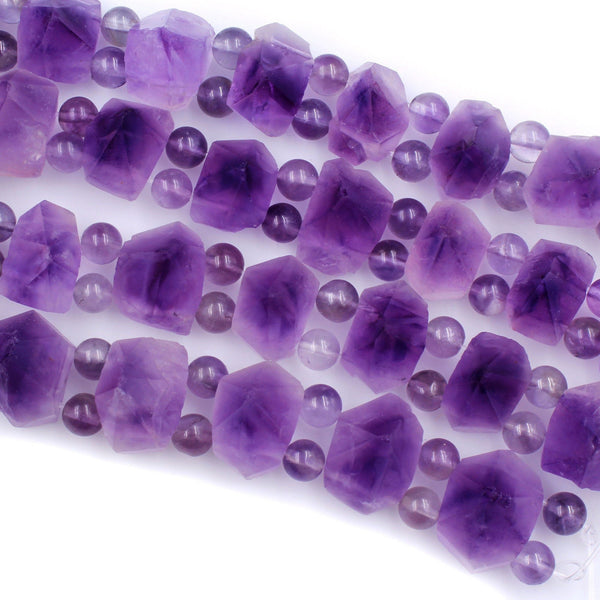 "AAA Double Drilled Natural Amethyst Points Beads Pyramid Raw Rough Organic Nugget Rich Purple Gemstone 8"" Strand Perfect for Bracelet"