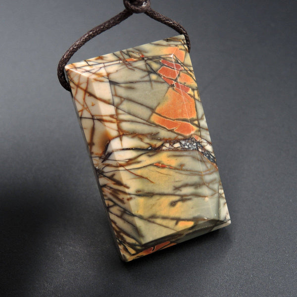 Natural Red Creek Jasper Pendant Mahjong Style Faceted Edges Pendant Multicolor Picasso Jasper Pendant Drilled Rectangle Pendant P1125