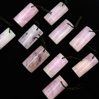 Natural Pink Morganite Rectangle Drum Pendant Pink Beryl Aquamarine Drilled Gemstone Pendant Bead