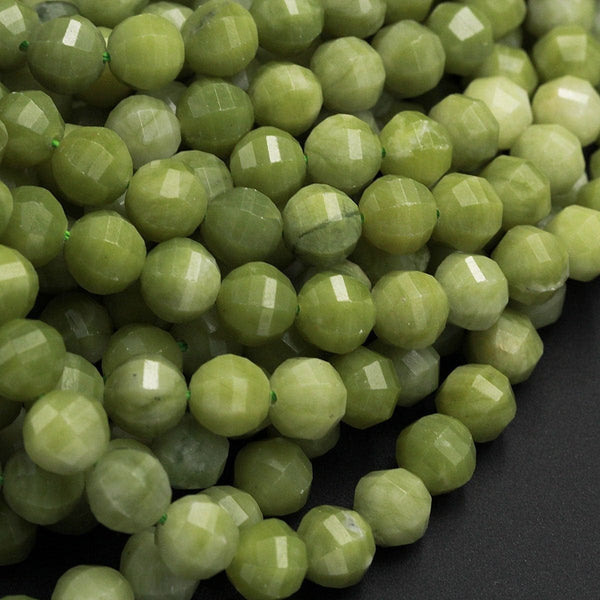 "New Cut! Lantern Faceted Natural Olive Green Jade 9mm Round Laser Diamond Cut Real Genuine Green Jade Sharp Facets Gemstone 16"" Strand"