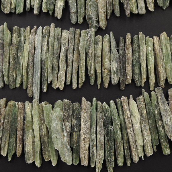 "Rough Raw Natural Green Kyanite Beads Freeform Irregular Long Large Stick Spike Rectangle Gemstone 16"" Strand"