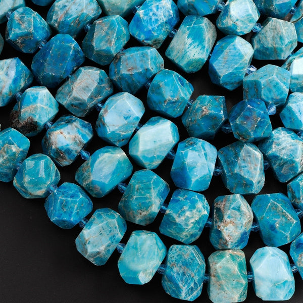 "Large Natural Apatite Beads Chunky Faceted Nugget Dark Vibrant Teal Blue Gemstone Designer Beads Unique Gem Cut 16"" Strand"