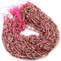 "Natural Pink Tourmaline Faceted 3mm 4mm 5mm Round Beads Micro Faceted Tiny Small Round Beads Diamond Cut Gemstone 16"" Strand"