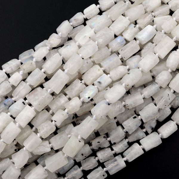 "Matte Natural Rainbow Moonstone Beads Frosty Raw Rough Faceted Rectangle Tube Nuggets Organic Natural Gemstone 16"" Strand"
