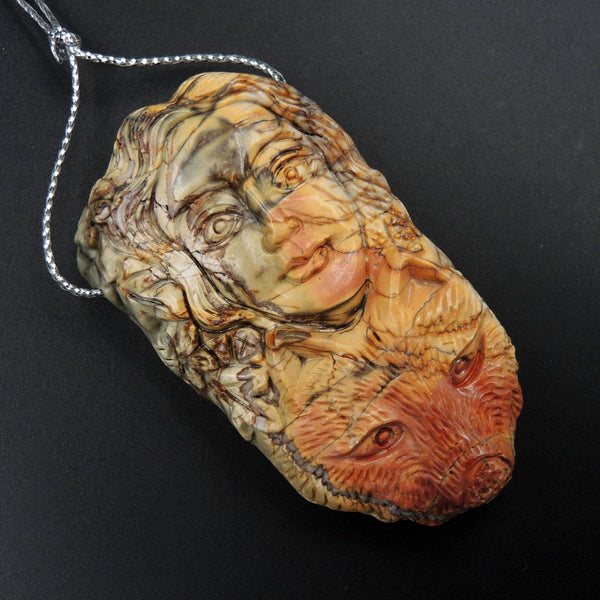 Natural Red Creek Jasper Pendant Hand Carved Wolf Woman Cherry Creek Jasper Pendant Multicolor Drilled Carved Pendant P1100