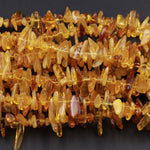 "Natural Baltic Amber Beads Golden Yellow Amber Freeform Nugget Long Chip Real Genuine Baltic Amber Irregular size Polished 16"" Strand"